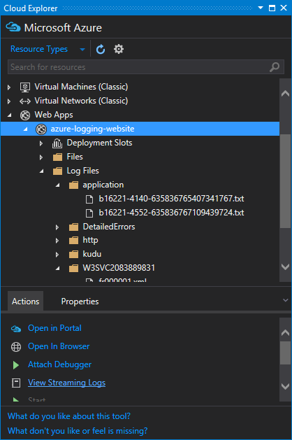 View Streaming Logs from the Cloud Explorer window in Visual Studio